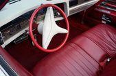Retro car red and white interior — Stock Photo