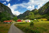 Village in a norway mountains — Stock Photo