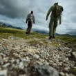 PIcture of a two hikers walking — Stock Photo