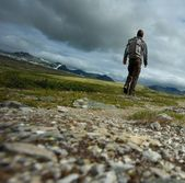 PIcture of a hiker walking — Stock Photo