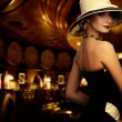 Woman in luxury club interior — Stock Photo