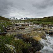 Fast river in scandinavian landscape — Stock Photo