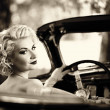 Retro wombehind wheel — Stock Photo #13311103