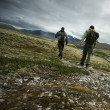 Stock Photo: Two hikers walking
