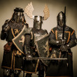 Three medieval knights — 图库照片
