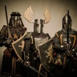 Three medieval knights — Stock fotografie