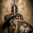 Medieval knight with weapon - Zdjęcie stockowe