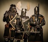 Three medieval knights — Stock Photo