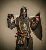 Medieval knight with weapon — Foto Stock