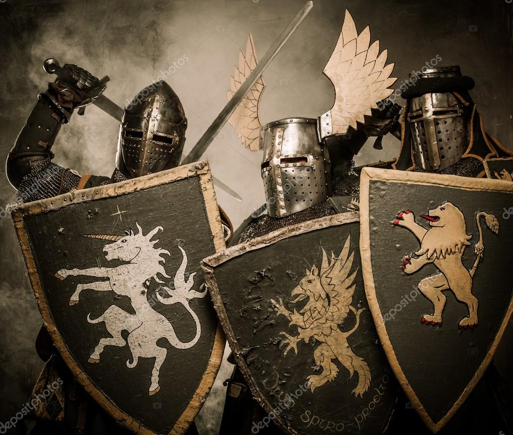Three medieval knights  Stockfoto #13489627