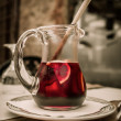 Sangria pitcher on a plate — Stockfoto