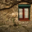 Window in stone wall - Foto Stock