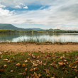 Stock Photo: Walkway on Lake of Banyoles shore, Spain
