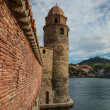 Tower of church Notre-Dame-des-Anges  in Collioure, France - Stock Photo