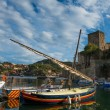 Colorful boats in Collioure bay - Stock Photo