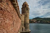 Tower of church Notre-Dame-des-Anges in Collioure, France — Stock Photo