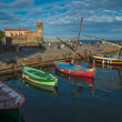 Four colorful boats near pier in Collioure bay — Stock Photo #14220801