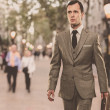 Man in classic grey suit with briefcase walking outdoors - Zdjęcie stockowe