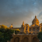 Museum National d Art de Catalunya at sunset. Barcelona, Spain — Stock Photo