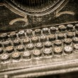Buttons of rusty vintage typewriter close-up — Stock Photo