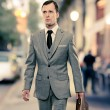 Man in classic grey suit with briefcase walking outdoors — Stock Photo #14551045