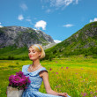 Lovely woman in blue dress with basket of flowers against mountain view - ストック写真