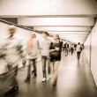Moving crowd in underpass — Stock Photo