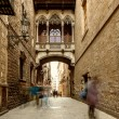 Bridge at Carrer del Bisbe in Barri Gotic, Barcelona - Stok fotoraf