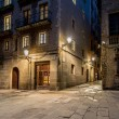 Stock Photo: Empty street of Barri Gotic at night, Barcelona