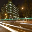 Street of Barcelona at night wtih blurred cars — Stock Photo #15658001