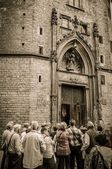 Group of near cathedral entrance — Stock Photo