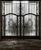 Closed old metal gate — Stock Photo