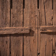 Close-up of old painted wooden fence — Stock Photo