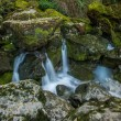 Stream running between rocks in Fontaine-de-Vaucluse, France - Stock Photo