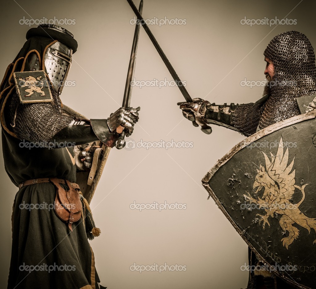 Fight between two medieval knight — Stock Photo #18654683
