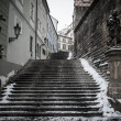 Stairs with statues of saints in Prague - Stock Photo