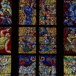 Stained glass inside St. Vitus cathedral — Stock Photo