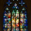 Stained glass inside St. Vitus cathedral - Stock Photo