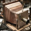 Retro wooden photo camera — Stockfoto