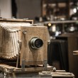Retro wooden photo camera - Stock Photo