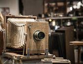 Retro wooden photo camera — Stock Photo