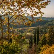 Small town view in autumn landscape — Stock Photo