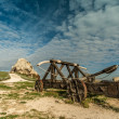 Old catapult in Les Baux-de-Provence, France - Stock Photo