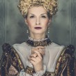 Picture of beautiful haughty queen in royal dress - Lizenzfreies Foto