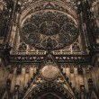 Facade architecture details of St. Vitus cathedral in Prague, Czech - Stock Photo