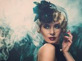 Beautiful retro woman — Stock Photo