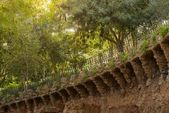 Man made clay balcony in a park Gaudi — Stock Photo