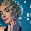 Elegant blond retro woman - Stock Photo
