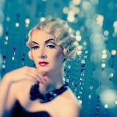 Elegant blond retro woman — Stockfoto