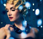 Elegant blond retro woman — Stock Photo